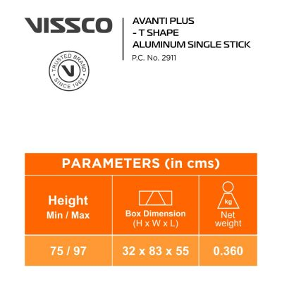 Vissco Aluminium Avanti Plus T Shape Single Stick, Blue2