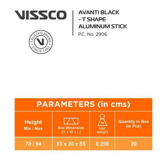 Vissco Avanti Plus Black T Shape Aluminium Stick2
