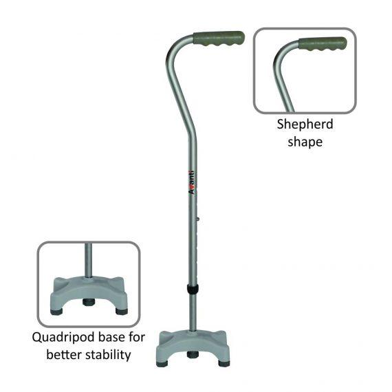 Vissco avanti shepherd shape quadripod stick.1